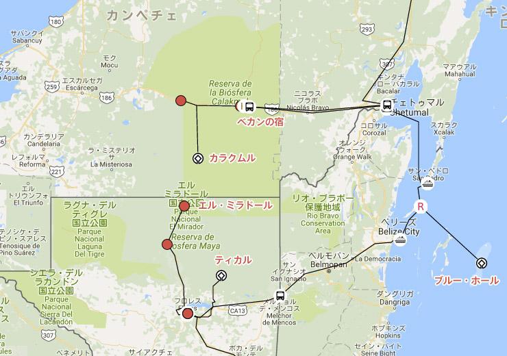 カンペチェ州カラクムルの古代マヤ都市と熱帯保護林への地図