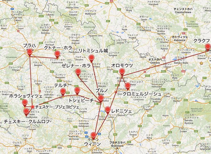 チェコの世界遺産マップ