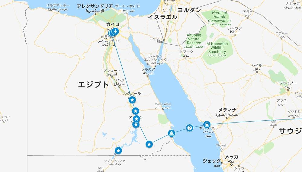 「ジョジョ」エジプトのルート地図