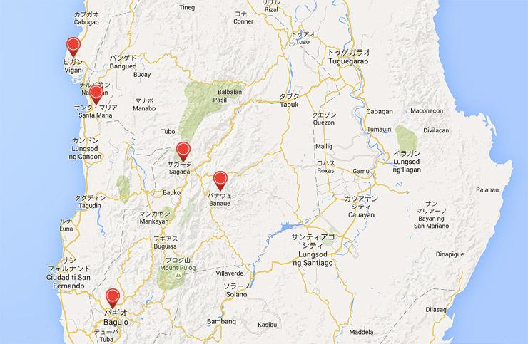 ビガンからバギオを経由してサガダへの地図