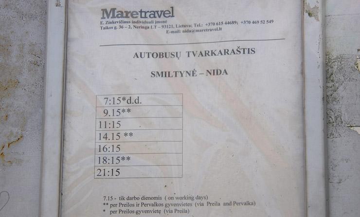 Smiltynėからニダまでのバスの時刻表