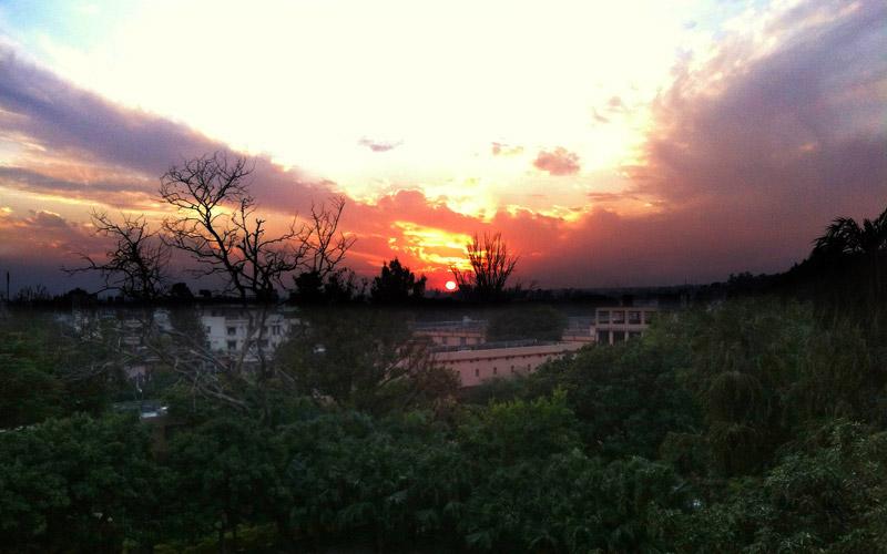 アシュラムから見た夕日
