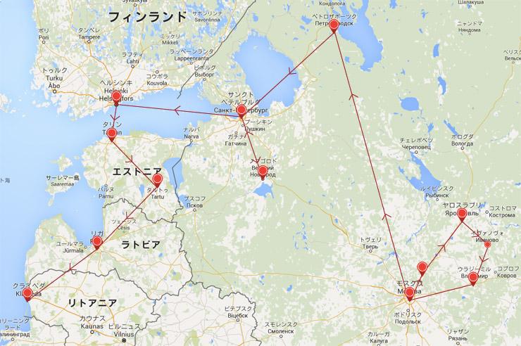 ロシアからリトアニアまでのルートMAP
