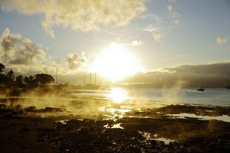 サブサブの夕日と温泉