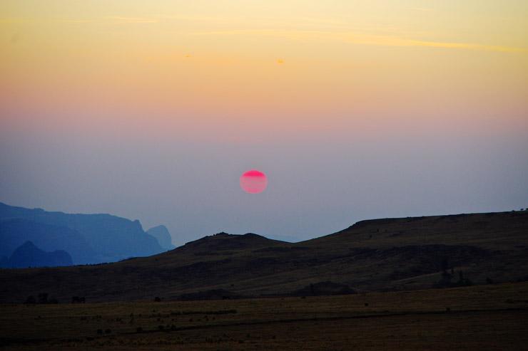 シミエン国立公園のサンセット