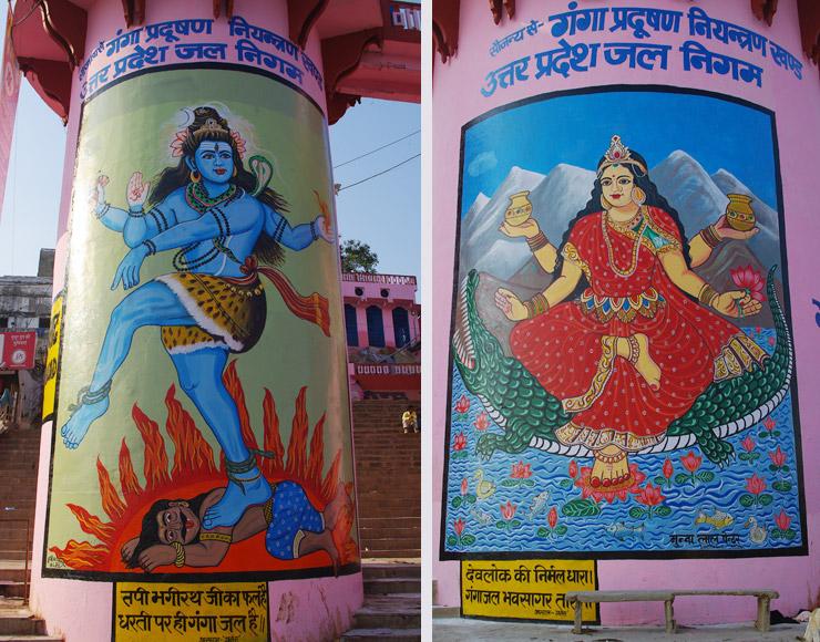 柱に描かれたインドの神様