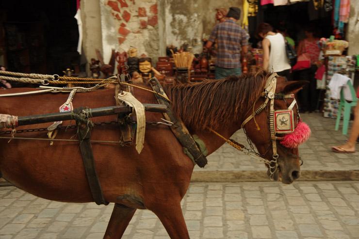 ビガンで走っている馬車